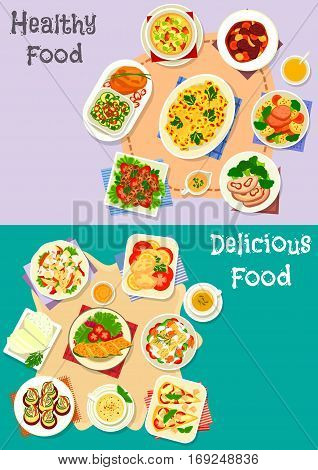 Healthy food icon set with vegetable soup and salad, beef roll and stew, lamb kebab, stuffed pasta, tomato cheese pie, cauliflower casserole, lentil pancake, fried cheese, zucchini roll with fish
