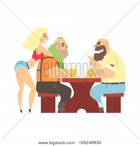 Two Lumberjacks Chatting At The Table With Sexy Waitress Leaning At Ones Back, Beer Bar And Criminal Looking Muscly Men Having Good Time Illustration. Part Of Series Of Dangerous Chunky Guys At The Pub Having Drinks Cool Vector Drawings.