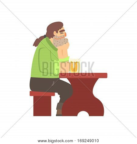 Man With Ponytail Drinking Alone At The Table, Beer Bar And Criminal Looking Muscly Men Having Good Time Illustration. Part Of Series Of Dangerous Chunky Guys At The Pub Having Drinks Cool Vector Drawings.