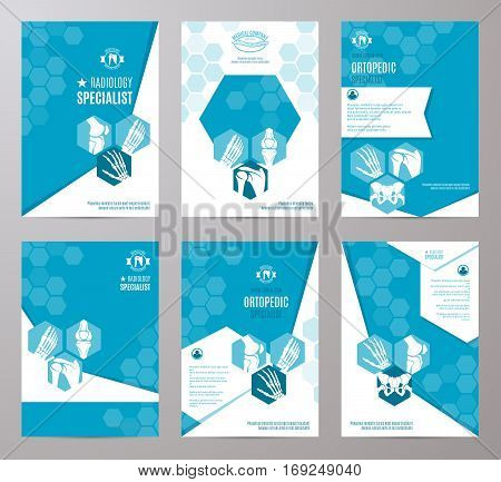Orthopedic and radiology clinical specialist card template. Medical banner with leg, hand, foot, knee, shoulder, pelvis joints and bones on abstract geometric background with text layout