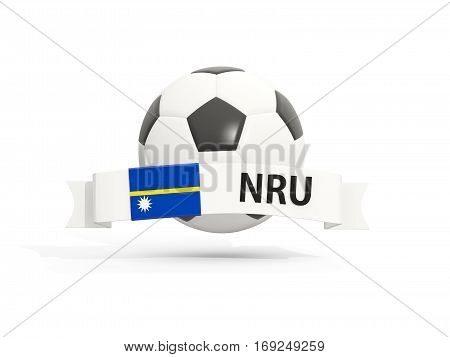 Flag Of Nauru, Football With Banner And Country Code