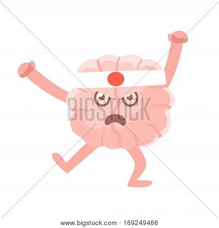 Humanized Brain Karate Fighter Fighting In Asian Style, Intellect Human Organ Cartoon Character Emoji Icon. Human Mind And Lifestyle Emoticon Illustration Showing Intellectual Brainpower.