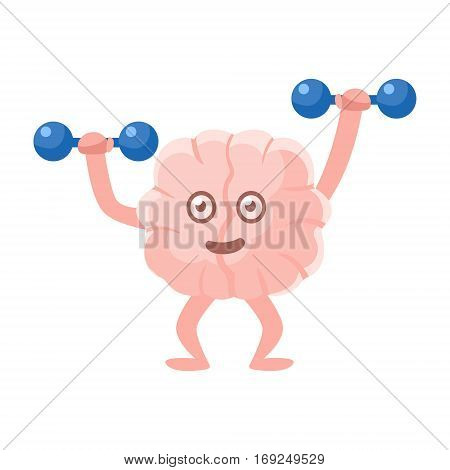 Humanized Brain Working Out In Gym With Dumbbells, Intellect Human Organ Cartoon Character Emoji Icon. Human Mind And Lifestyle Emoticon Illustration Showing Intellectual Brainpower.