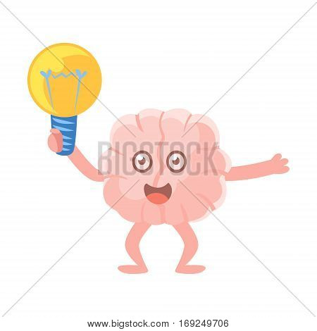 Humanized Brain Holding An Electric Bulb Excited Having An Idea, Intellect Human Organ Cartoon Character Emoji Icon. Human Mind And Lifestyle Emoticon Illustration Showing Intellectual Brainpower.