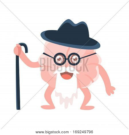 Humanized Wise And Old Brain With Walking Stick And Long Beard , Intellect Human Organ Cartoon Character Emoji Icon. Human Mind And Lifestyle Emoticon Illustration Showing Intellectual Brainpower.