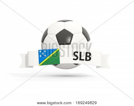Flag Of Solomon Islands, Football With Banner And Country Code