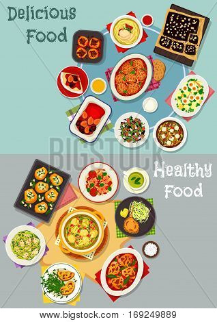 Tasty dinner dishes icon set with baked meat and vegetable dishes, seafood pasta and salad, chicken noodle, tofu and cabbage soups, cheese toast, chocolate cake, pancake with plum, bean pilaf