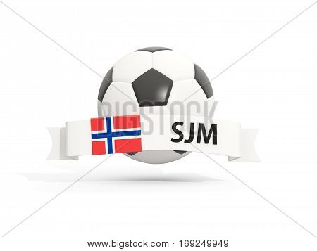 Flag Of Svalbard And Jan Mayen, Football With Banner And Country Code