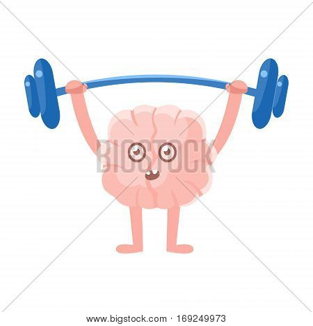 Humanized Brain Doing Heavy Weight Lifting Exercise In Gym , Intellect Human Organ Cartoon Character Emoji Icon. Human Mind And Lifestyle Emoticon Illustration Showing Intellectual Brainpower.