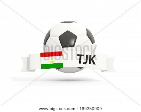 Flag Of Tajikistan, Football With Banner And Country Code
