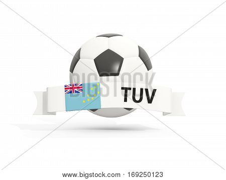 Flag Of Tuvalu, Football With Banner And Country Code