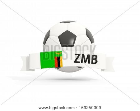 Flag Of Zambia, Football With Banner And Country Code