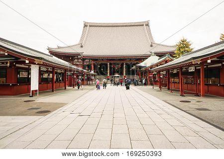concrete entrance of Sensoji Temple taken in Asakusa Japan on 27 November 2016