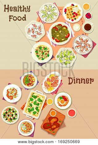 Tasty dinner dishes icon set of cheese ham and fish salads, egg dishes with cheese and sausage, pasta with mushroom and cheese, grilled shrimp and lamb, dolma, oyster with sauce, waffle with ice cream