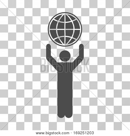 Globalist icon. Vector illustration style is flat iconic symbol gray color transparent background. Designed for web and software interfaces.