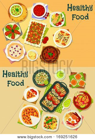 Healthy food icon set with vegetable, meat and fish stew and soup, fried egg with bacon and sausage, squid and veggies salads, meat tortilla with guacamole sauce, chilli chicken, corn cake, potato pie