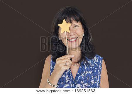 Senior Adult Woman Smiling Happiness Playful Portrait Concept