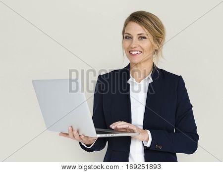 Caucasian Lady Laptop Work Concept