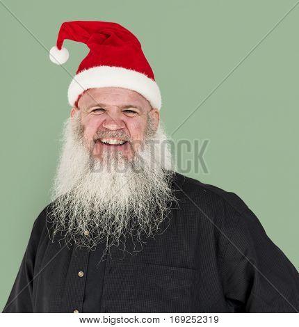Bearded Caucasian Man Santa Claus Smiling