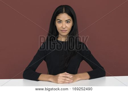 Young woman casual studio portrait in crop-top