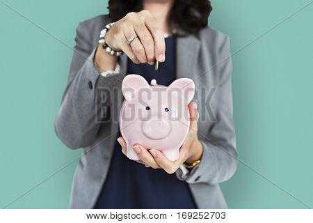 Business Woman Piggy Bank