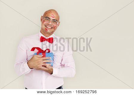 Asian Man Cheerful Kisses Present Concept
