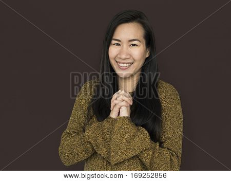 Asian Woman Wishing Cheerful Concept