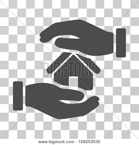 Realty Insurance icon. Vector illustration style is flat iconic symbol gray color transparent background. Designed for web and software interfaces.