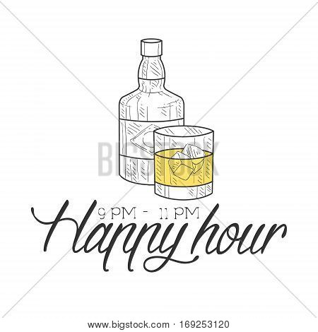 Bar Happy Hour Promotion Sign Design Template Hand Drawn Hipster Sketch With Bottle And Glass Of Whiskey. Cool Illustration With Advertisement Elements For The Cafe Free Drinking Time.