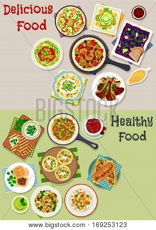 Tasty lunch icon set of vegetable salads with seafood, fruit and egg, salmon tacos, meat burgers, lamb with rice, vegetable stew, yogurt sauce, tomato omelette, baked grape with cheese, fruit dessert