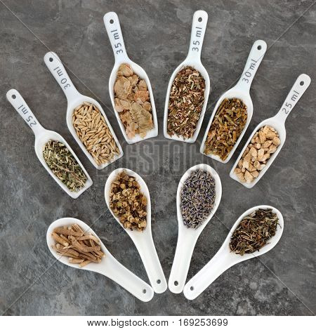 Herbs to heal anxiety and sleeping disorders using alternative herbal medicine in china scoops and spoons.