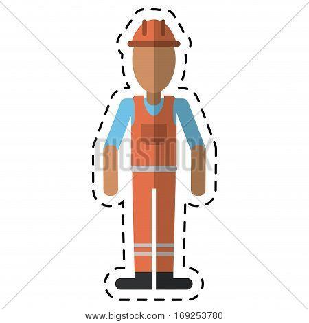man with helmet uniform work professional contractor-dot line vector illustration eps 10