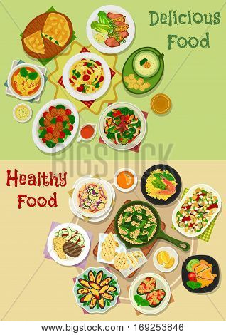 Main meal icon set of vegetable salads with seafood and cheese, baked meat and mussel with veggies, pasta with bacon, seafood guacamole, soup and rice with shrimp and bean, meatball, cheese egg pie