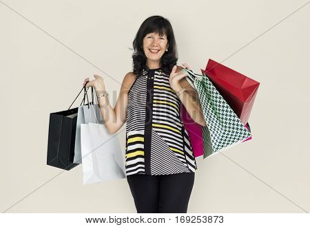 Adult Women Hands Hold Shopping Bags Studio