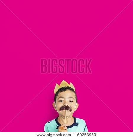 Little Boy With Crown Mustache Costume Studio