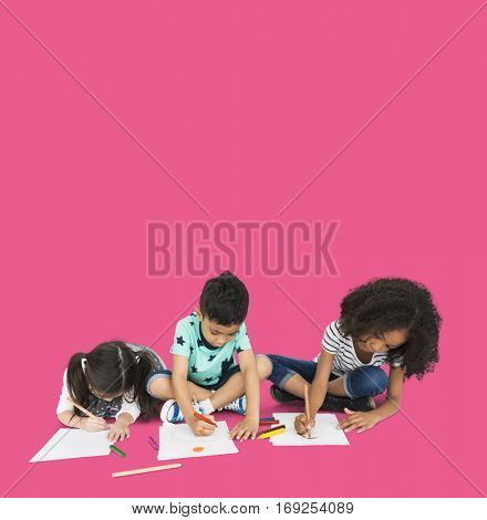 Little Children Drawing Together Creative
