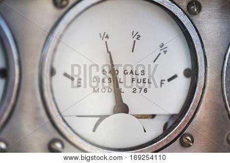 Close-up of diesel fuel gauge of yacht