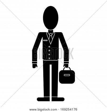 business man suit necktie and portfolio pictogram vector illustration eps 10