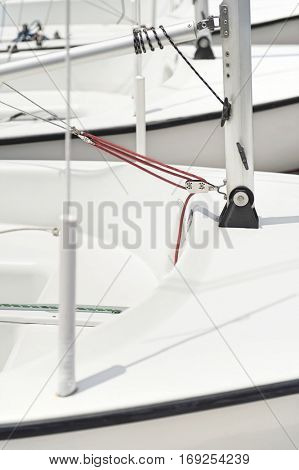 Block with rope on yacht