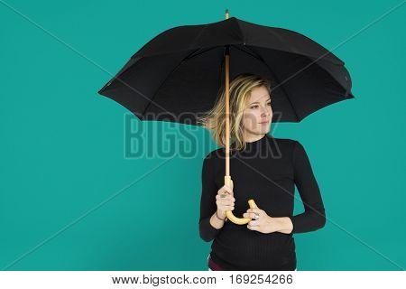 Caucasian Lady Black Umbrella Concept