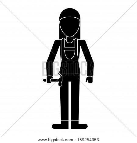 worker woman carpentry hammer helmet pictogram vector illustration eps 10