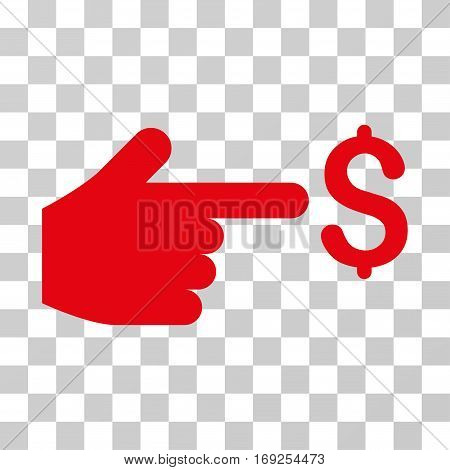 Dollar Index icon. Vector illustration style is flat iconic symbol red color transparent background. Designed for web and software interfaces.