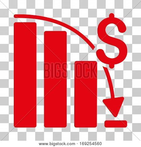 Epic Fail Trend icon. Vector illustration style is flat iconic symbol red color transparent background. Designed for web and software interfaces.