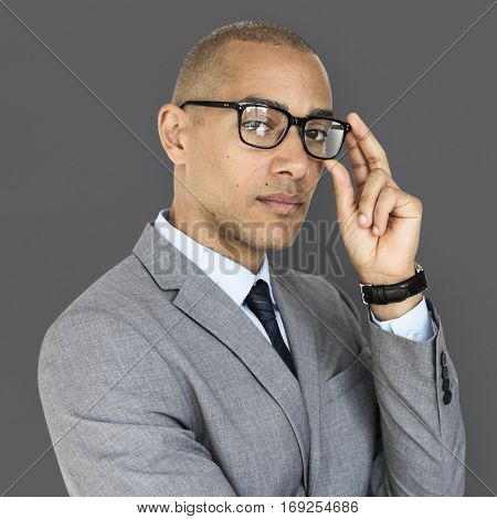 African Descent Business Man Glasses Concept