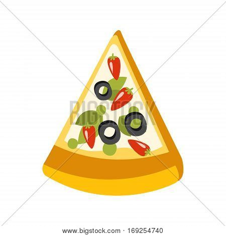 Slice Of Vegetarian Pizza Primitive Cartoon Icon, Part Of Pizza Cafe Series Of Clipart Illustrations. Vector Simplified Clip-Art Drawing Element.