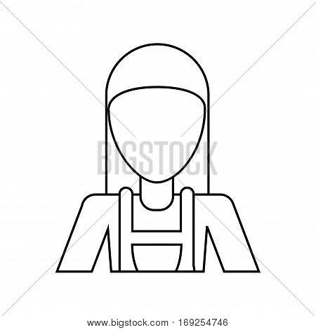 worker woman carpentry helmet thin line vector illustration eps 10