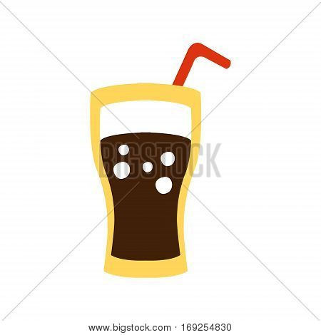 Glass With Non-Alcoholic Sweet Soda Drink And A Straw Primitive Cartoon Icon, Part Of Pizza Cafe Series Of Clipart Illustrations. Vector Simplified Clip-Art Drawing Element.