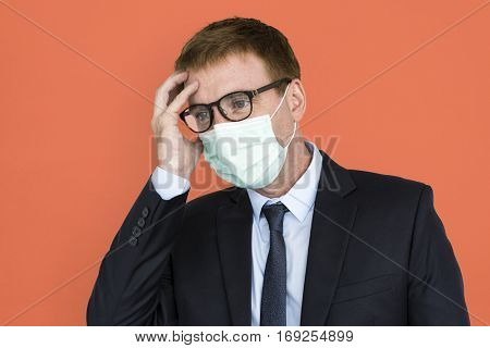 Businessman Unwell Face Mask Concept