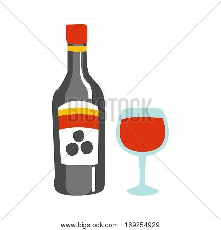 Bottle Of Red Wine And A Glass Of Alcohol Drink Primitive Cartoon Icon, Part Of Pizza Cafe Series Of Clipart Illustrations. Vector Simplified Clip-Art Drawing Element.