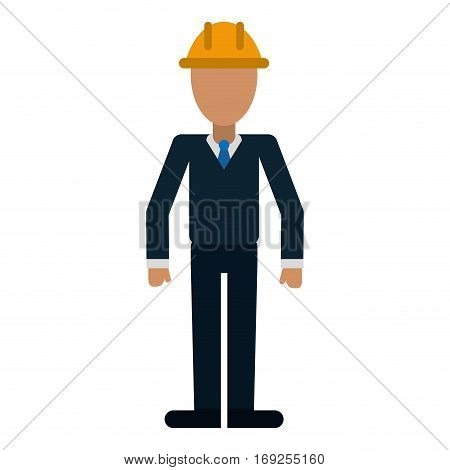 business man helmet contruction manager vector illustration eps 10